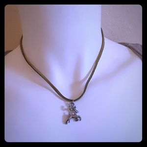 Green suede dear charm necklace